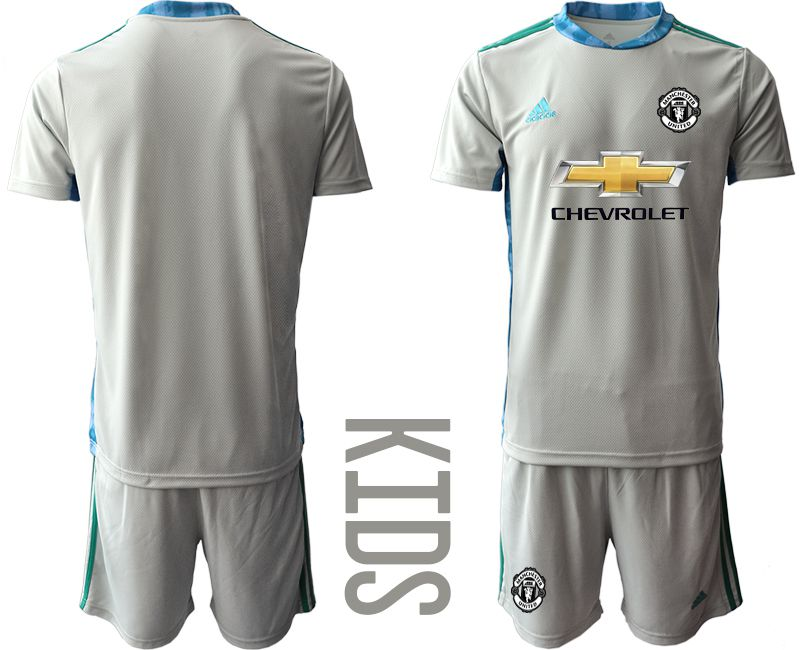 Youth 2020-2021 club Manchester United gray goalkeeper Soccer Jerseys