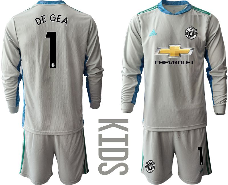 Youth 2020-2021 club Manchester United gray long sleeve goalkeeper 1 Soccer Jerseys