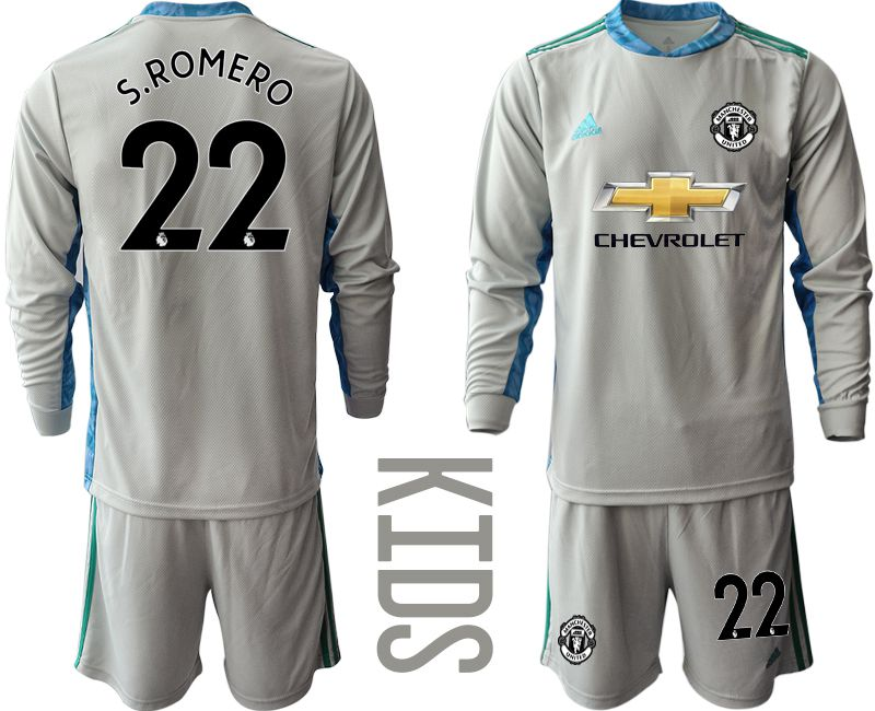 Youth 2020-2021 club Manchester United gray long sleeve goalkeeper 22 Soccer Jerseys