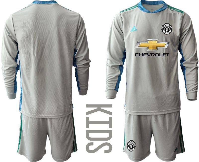 Youth 2020-2021 club Manchester United gray long sleeve goalkeeper Soccer Jerseys