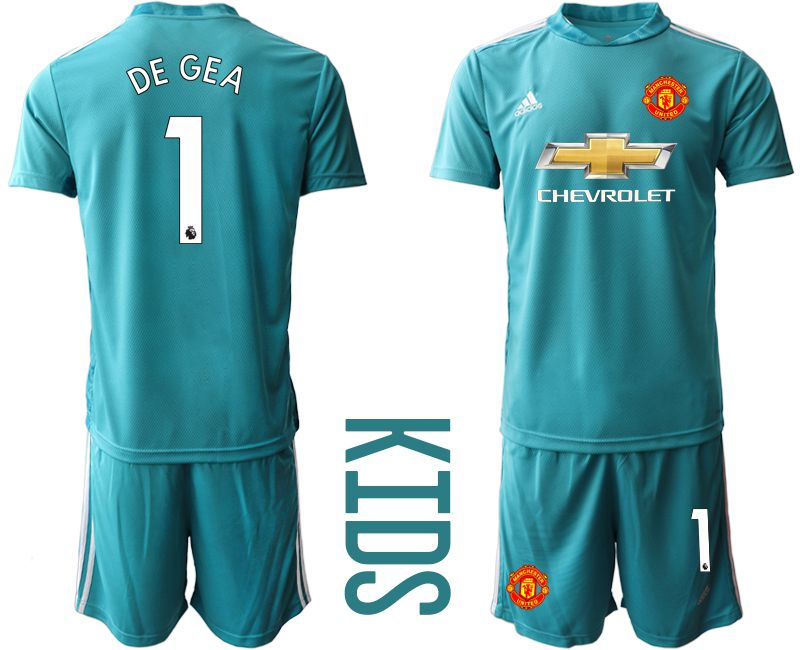 Youth 2020-2021 club Manchester United lake blue goalkeeper 1 Soccer Jerseys