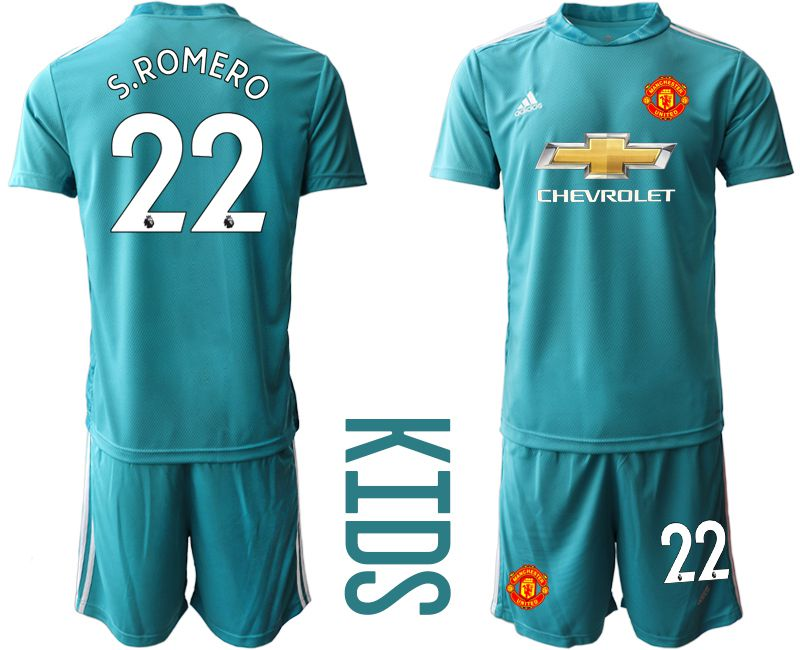 Youth 2020-2021 club Manchester United lake blue goalkeeper 22 Soccer Jerseys