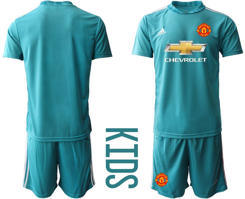 Youth 2020-2021 club Manchester United lake blue goalkeeper Soccer Jerseys