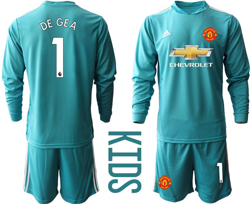 Youth 2020-2021 club Manchester United lake blue long sleeve goalkeeper 1 Soccer Jerseys