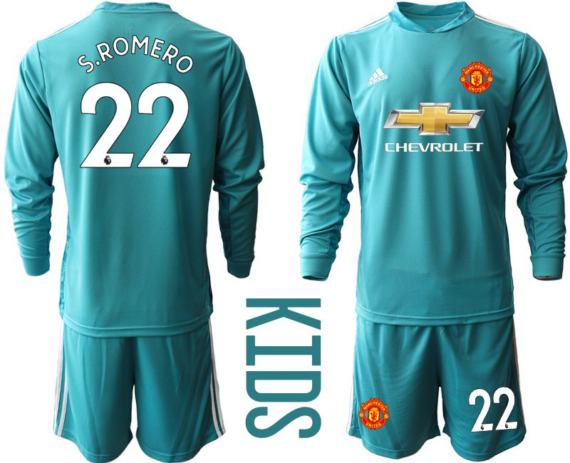 Youth 2020-2021 club Manchester United lake blue long sleeve goalkeeper 22 Soccer Jerseys