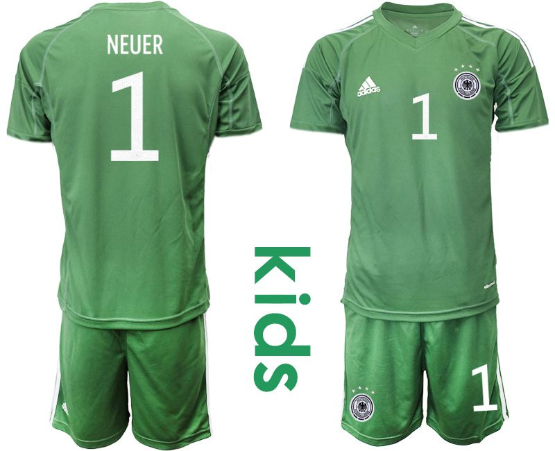 Wholesale Youth 2021 World Cup National Germany army green goalkeeper 1 Soccer Jerseys