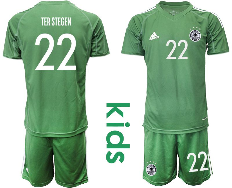 Wholesale Youth 2021 World Cup National Germany army green goalkeeper 22 Soccer Jerseys