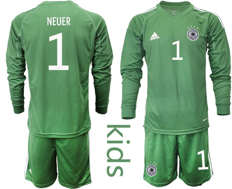 Wholesale Youth 2021 World Cup National Germany army green long sleeve goalkeeper 1 Soccer Jerseys