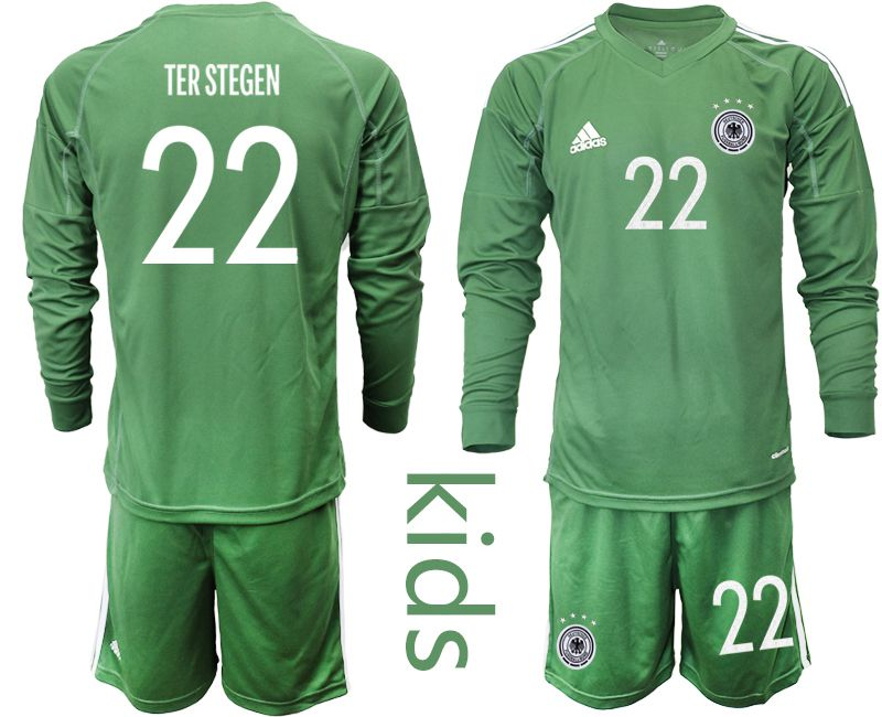 Wholesale Youth 2021 World Cup National Germany army green long sleeve goalkeeper 22 Soccer Jerseys