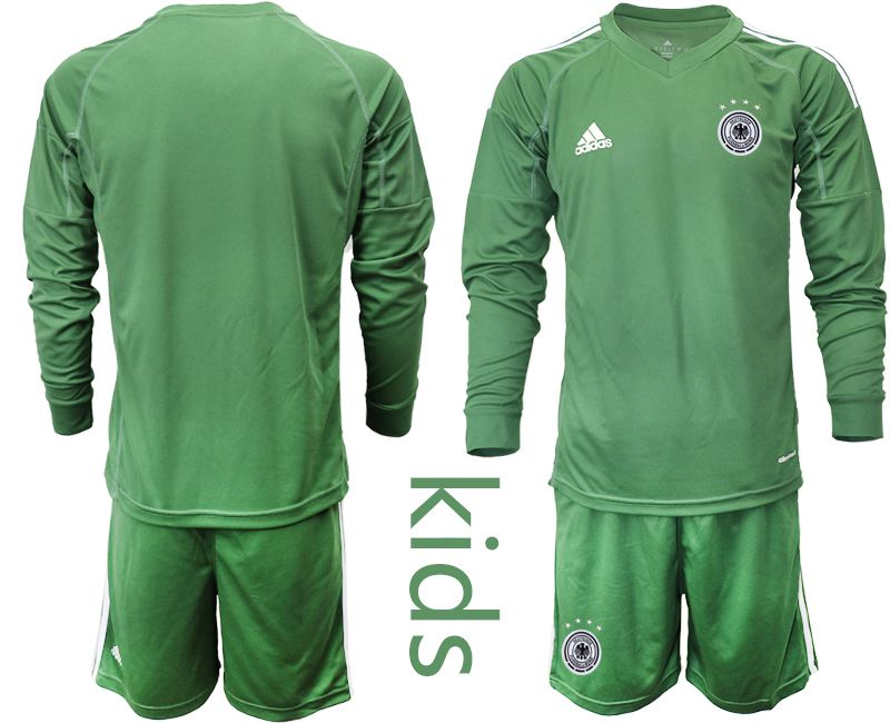 Wholesale Youth 2021 World Cup National Germany army green long sleeve goalkeeper Soccer Jerseys