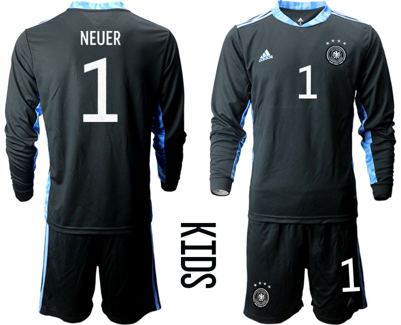 Wholesale Youth 2021 World Cup National Germany black long sleeve goalkeeper 1 Soccer Jerseys