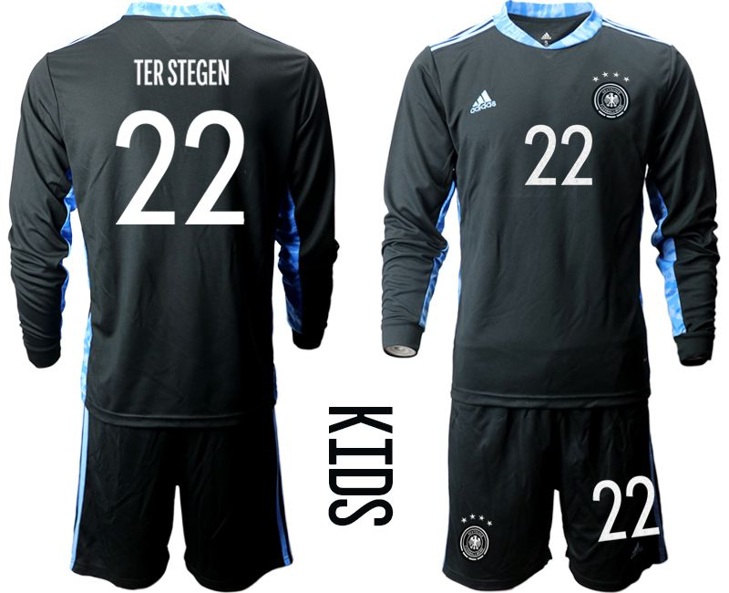 Wholesale Youth 2021 World Cup National Germany black long sleeve goalkeeper 22 Soccer Jerseys