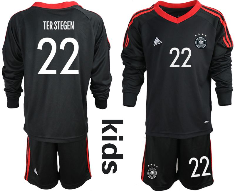 Wholesale Youth 2021 World Cup National Germany black long sleeve goalkeeper 22 Soccer Jerseys1
