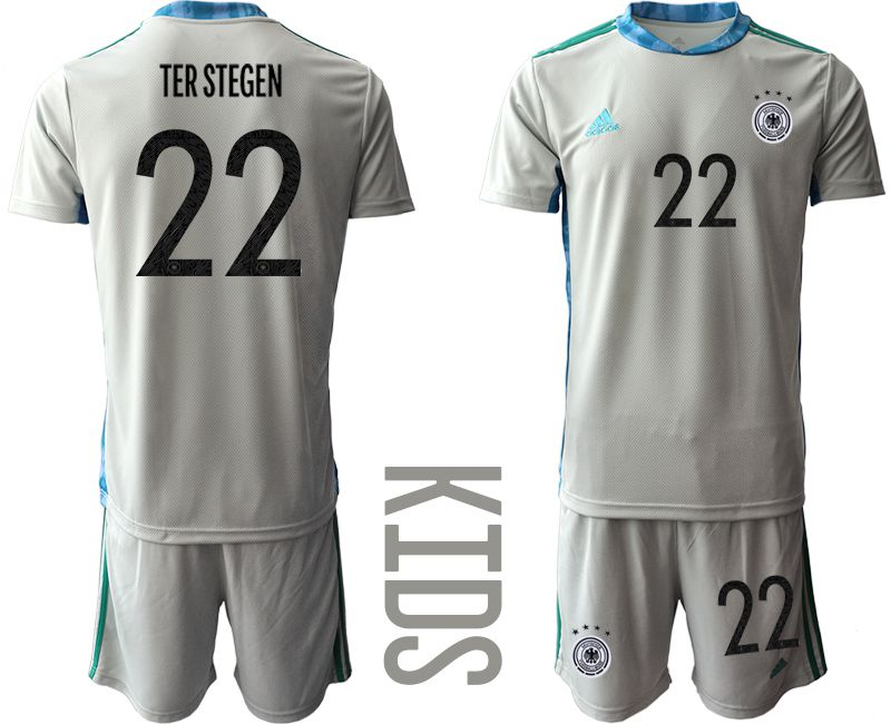 Wholesale Youth 2021 World Cup National Germany gray goalkeeper 22 Soccer Jerseys