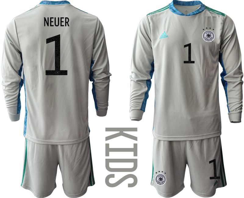 Wholesale Youth 2021 World Cup National Germany gray long sleeve goalkeeper 1 Soccer Jerseys