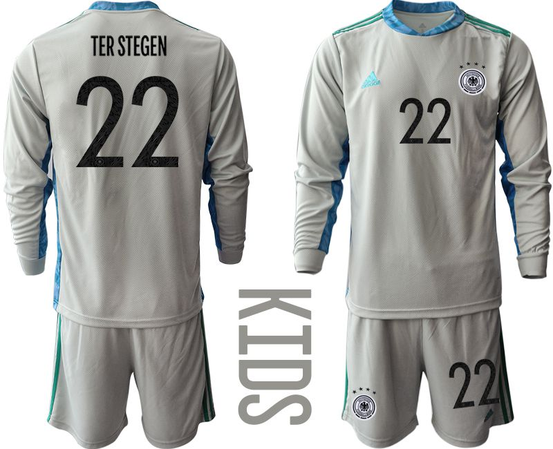 Wholesale Youth 2021 World Cup National Germany gray long sleeve goalkeeper 22 Soccer Jerseys