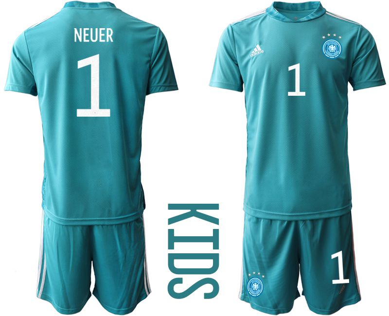 Wholesale Youth 2021 World Cup National Germany lake blue goalkeeper 1 Soccer Jerseys