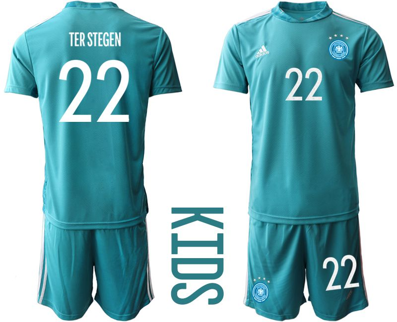 Wholesale Youth 2021 World Cup National Germany lake blue goalkeeper 22 Soccer Jerseys