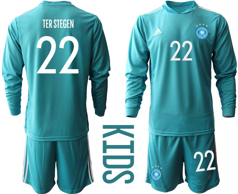 Wholesale Youth 2021 World Cup National Germany lake blue long sleeve goalkeeper 22 Soccer Jerseys
