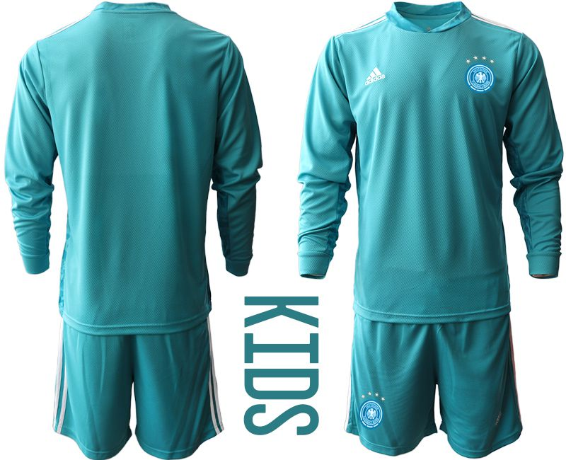 Wholesale Youth 2021 World Cup National Germany lake blue long sleeve goalkeeper Soccer Jerseys