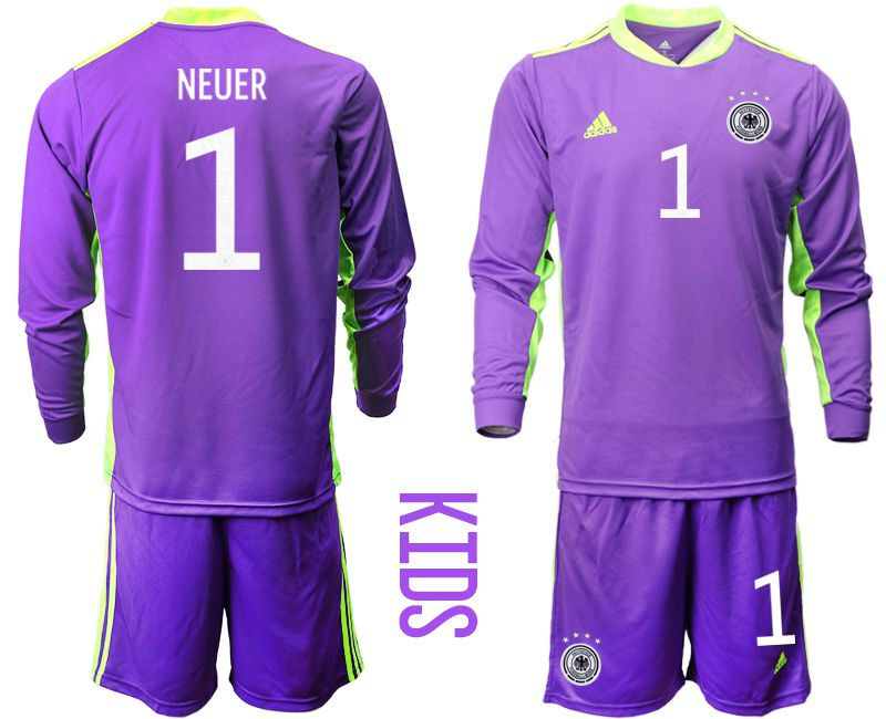 Wholesale Youth 2021 World Cup National Germany purple long sleeved Goalkeeper 1 Soccer Jerseys