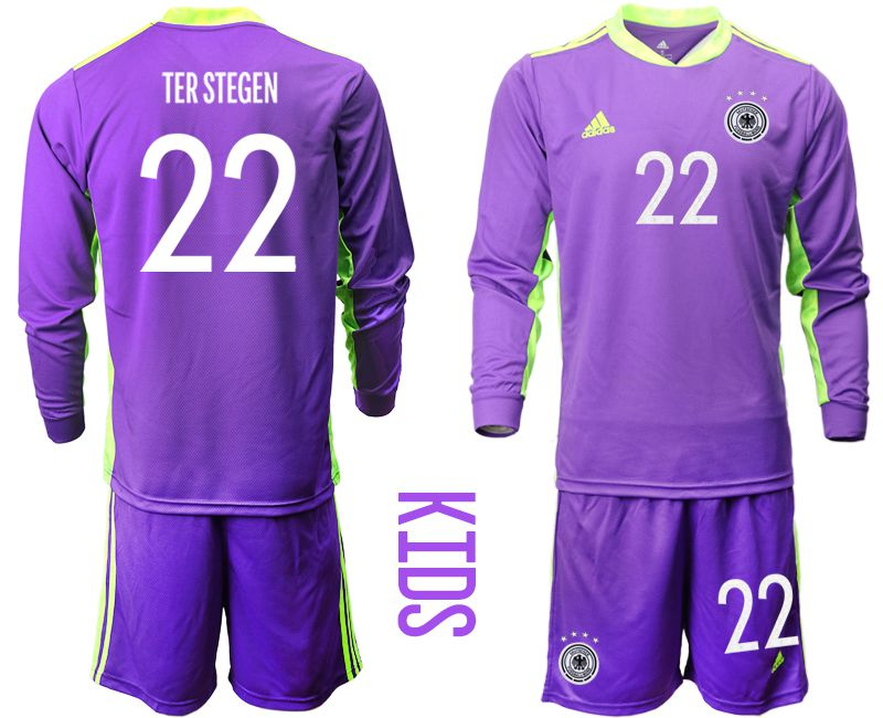 Wholesale Youth 2021 World Cup National Germany purple long sleeved Goalkeeper 22 Soccer Jerseys