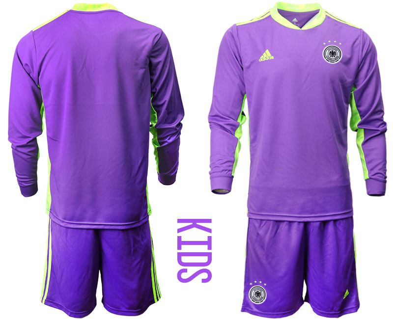 Wholesale Youth 2021 World Cup National Germany purple long sleeved Goalkeeper Soccer Jerseys