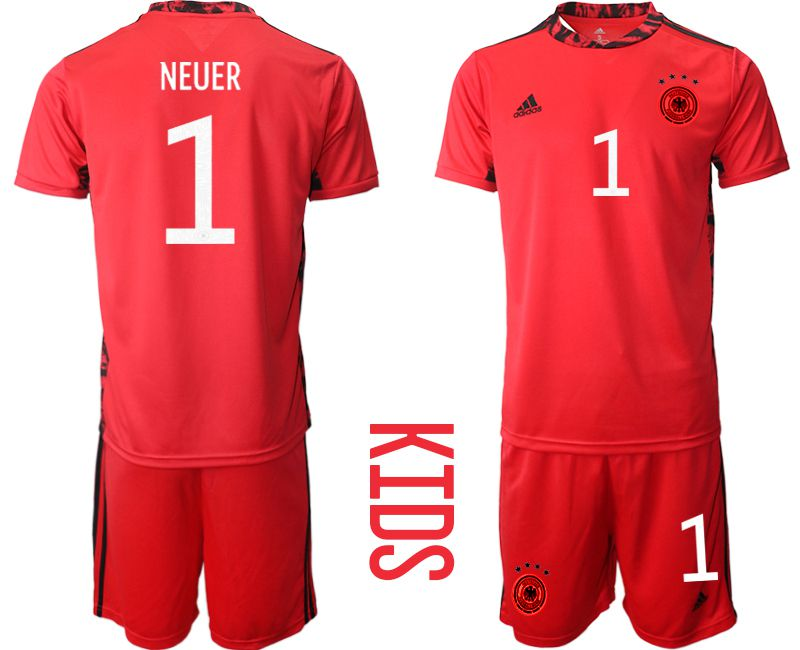 Wholesale Youth 2021 World Cup National Germany red goalkeeper 1 Soccer Jerseys