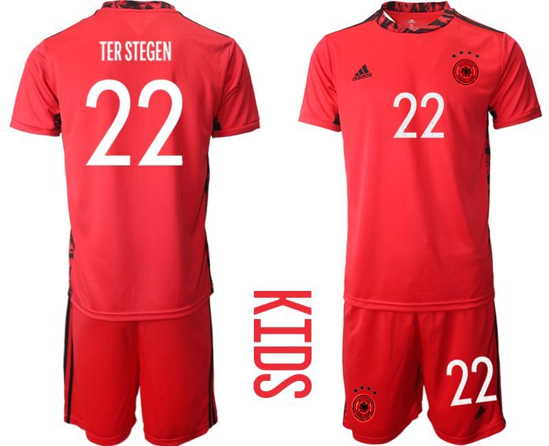 Wholesale Youth 2021 World Cup National Germany red goalkeeper 22 Soccer Jerseys
