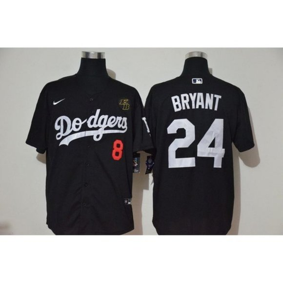 Cheap Custom Men Los Angeles Dodgers 24 and 8 Bryant Black Nike Game MLB Jerseys