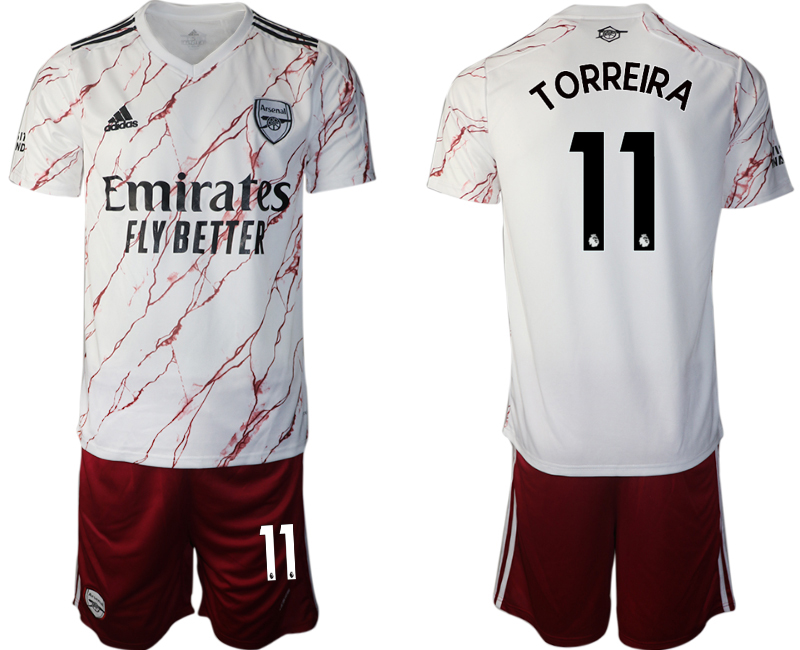 Wholesale Men 2020-2021 club Arsenal away 11 white Soccer Jerseys