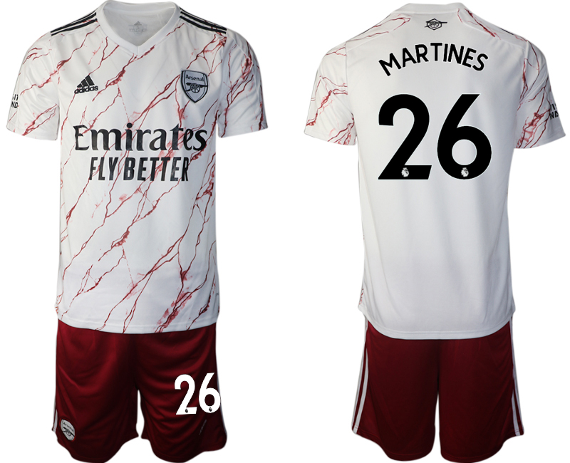 Wholesale Men 2020-2021 club Arsenal away 26 white Soccer Jerseys