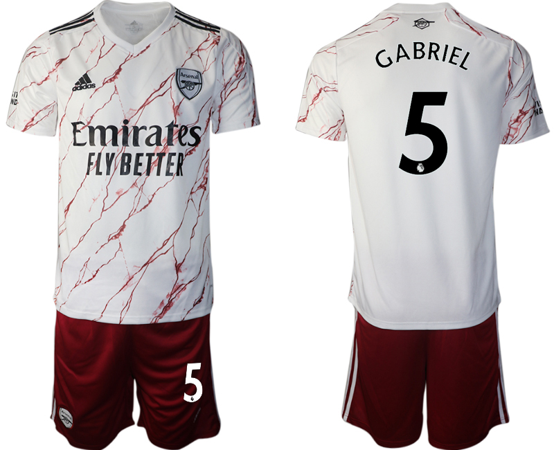 Wholesale Men 2020-2021 club Arsenal away 5 white Soccer Jerseys