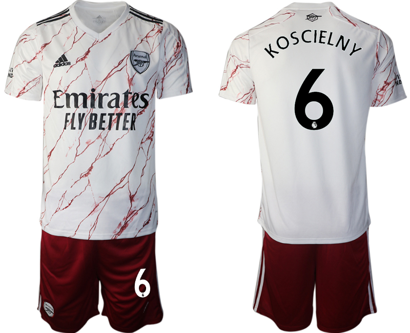 Wholesale Men 2020-2021 club Arsenal away 6 white Soccer Jerseys
