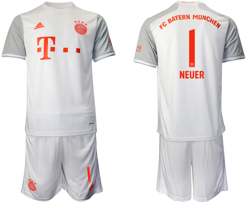 Wholesale Men 2020-2021 club Bayern Munich away 1 white Soccer Jerseys