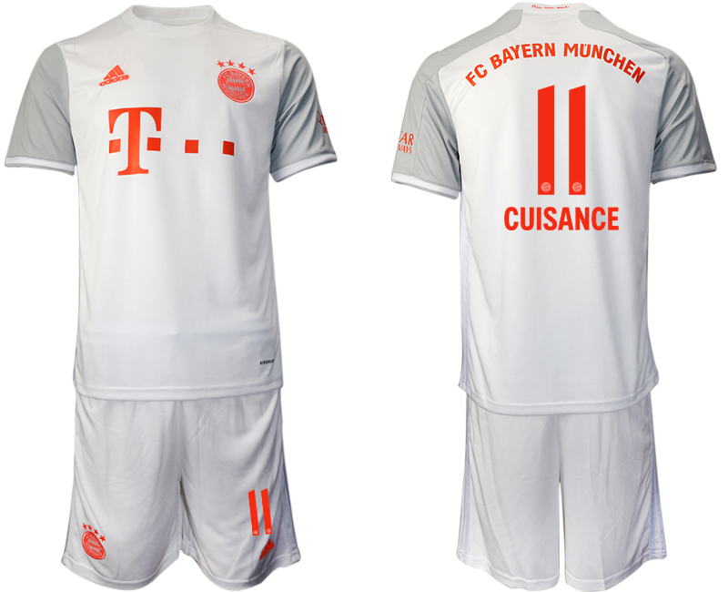 Wholesale Men 2020-2021 club Bayern Munich away 11 white Soccer Jerseys
