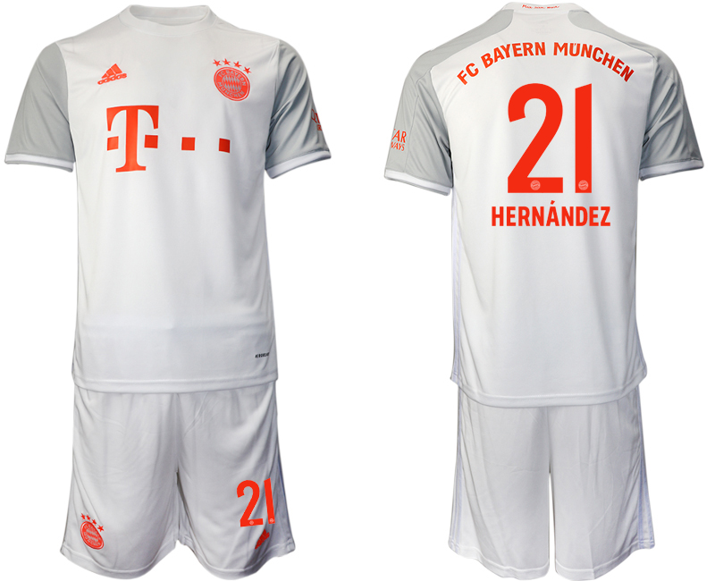 Wholesale Men 2020-2021 club Bayern Munich away 21 white Soccer Jerseys