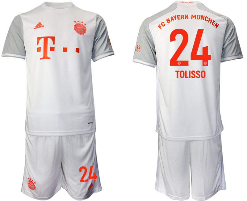 Wholesale Men 2020-2021 club Bayern Munich away 24 white Soccer Jerseys
