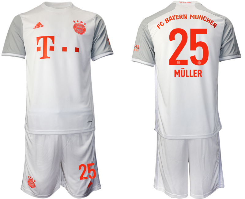 Wholesale Men 2020-2021 club Bayern Munich away 25 white Soccer Jerseys