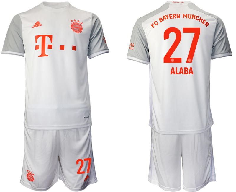 Wholesale Men 2020-2021 club Bayern Munich away 27 white Soccer Jerseys