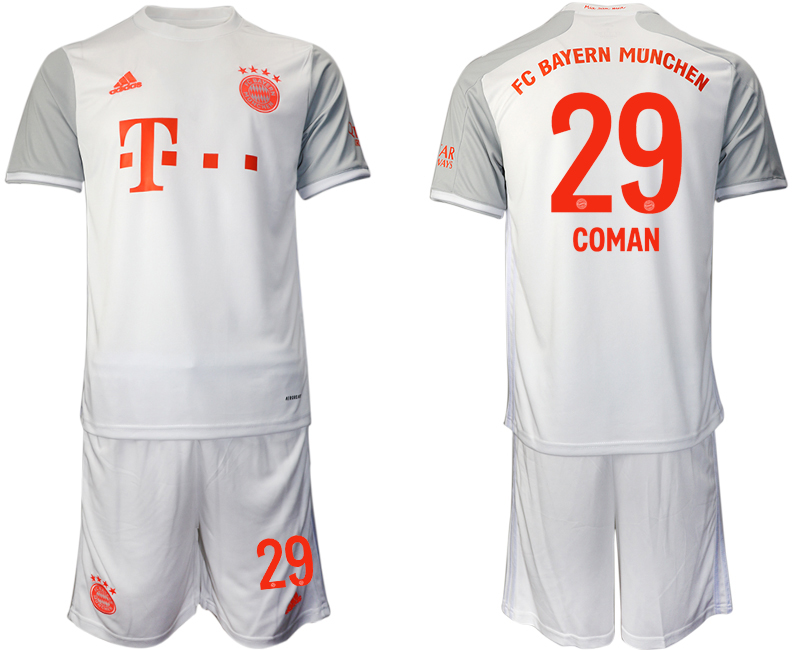 Wholesale Men 2020-2021 club Bayern Munich away 29 white Soccer Jerseys