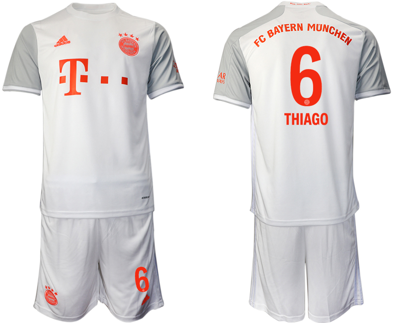 Wholesale Men 2020-2021 club Bayern Munich away 6 white Soccer Jerseys