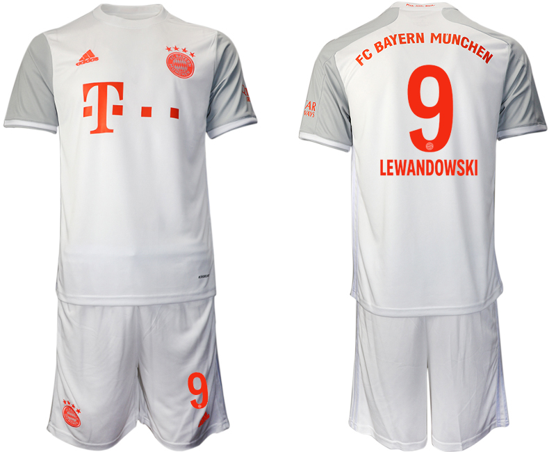 Wholesale Men 2020-2021 club Bayern Munich away 9 white Soccer Jerseys
