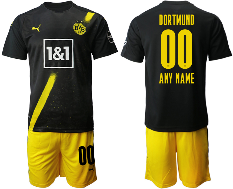 Men 2020-2021 club Borussia Dortmund away customized black Soccer Jerseys