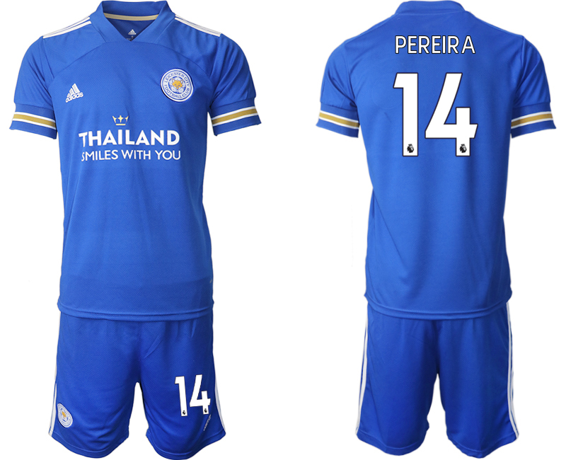 Wholesale Men 2020-2021 club Leicester City home 14 blue Soccer Jerseys