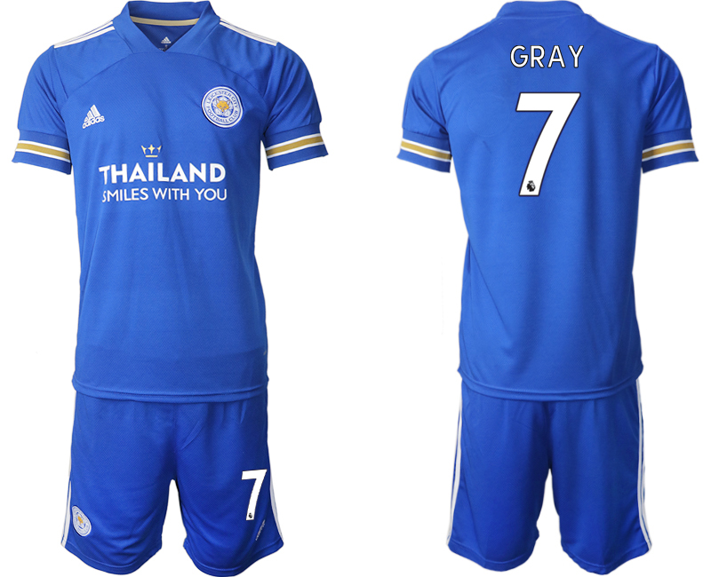 Wholesale Men 2020-2021 club Leicester City home 7 blue Soccer Jerseys