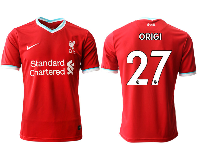 Wholesale Men 2020-2021 club Liverpool home aaa version 27 red Soccer Jerseys