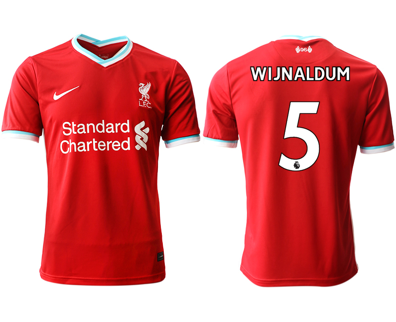 Wholesale Men 2020-2021 club Liverpool home aaa version 5 red Soccer Jerseys