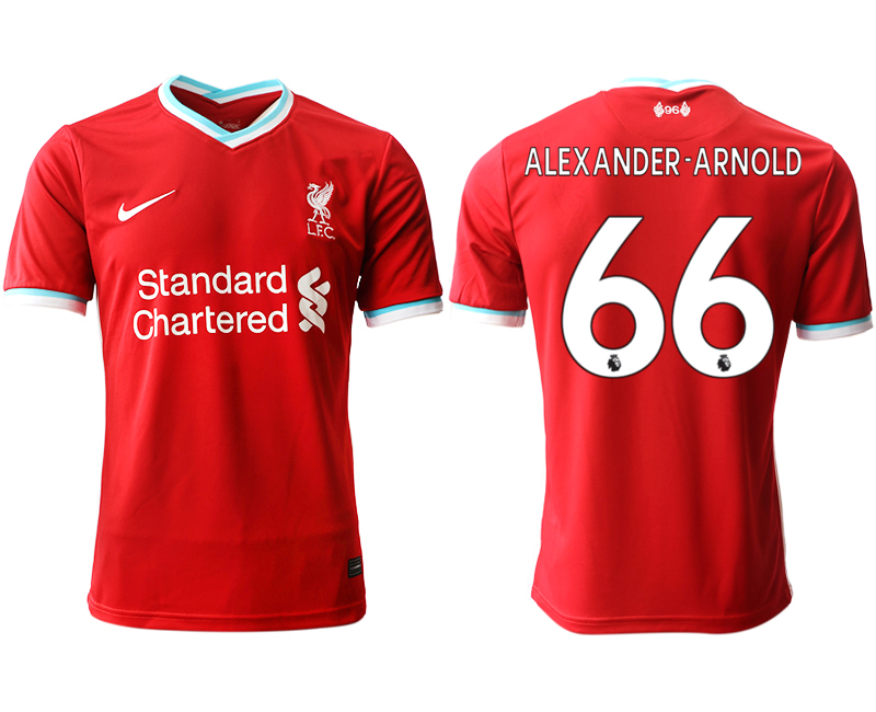 Wholesale Men 2020-2021 club Liverpool home aaa version 66 red Soccer Jerseys
