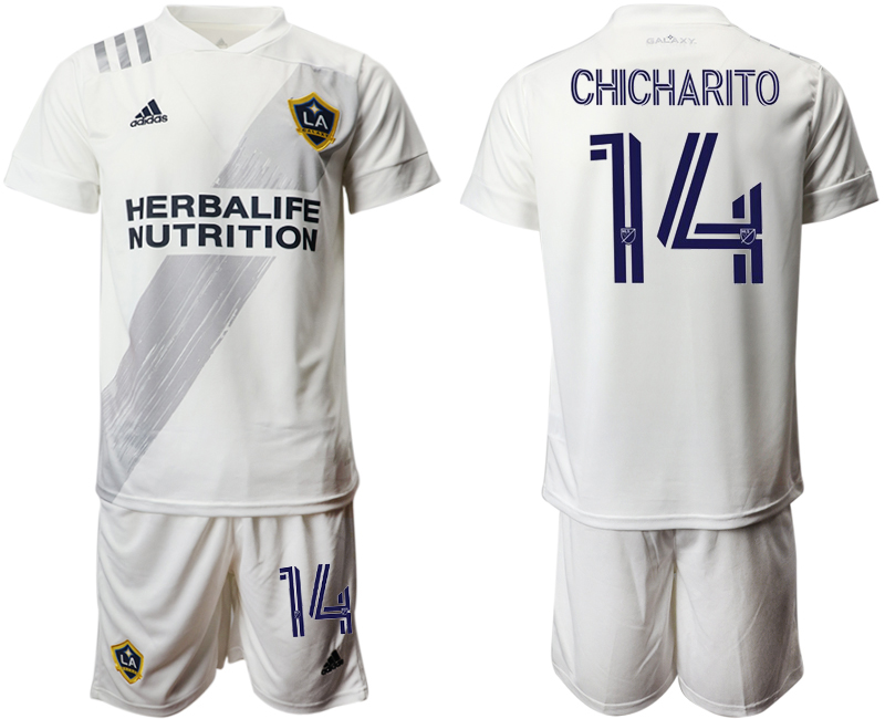 Cheap Men 2020-2021 club Los Angeles Galaxy home 14 white Soccer Jerseys